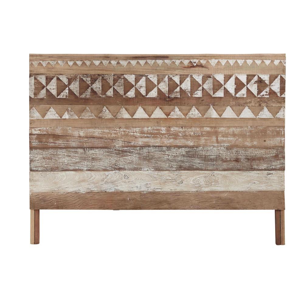 Testata da letto a motivi in legno riciclato l 160 cm for Cuscini testata letto maison du monde