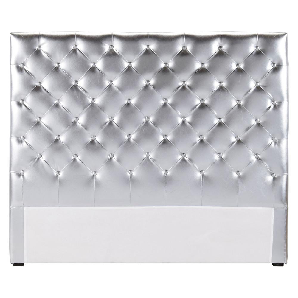 Testata da letto imbottita color argento l 140 cm - Crea la tua camera da letto ...