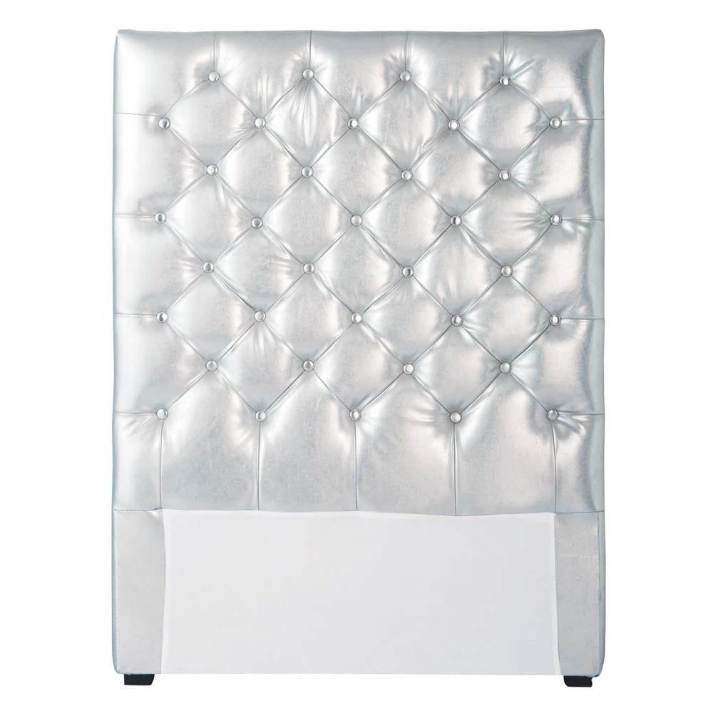 Testata da letto imbottita color argento l 90 cm for Cuscini testata letto maison du monde