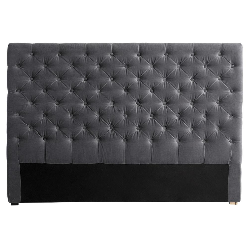 Testata da letto imbottita grigia in velluto l 160 cm - Realizzare testata letto imbottita ...