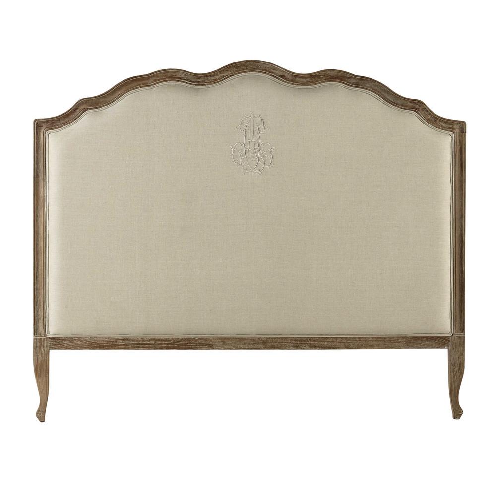 Testata da letto in lino naturale 160 cm ombelline for Cuscini testata letto maison du monde