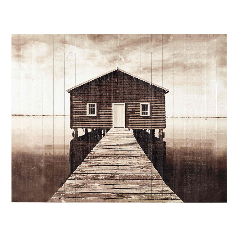 Testata da letto in listelli di legno 160 cm seaside for Cuscini testata letto maison du monde