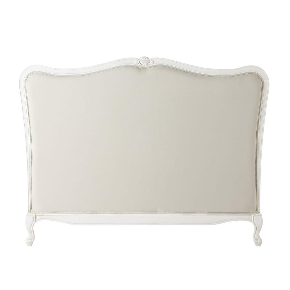 Testata da letto in massello di legno e cotone l 140 cm - Letto da 120 cm ...