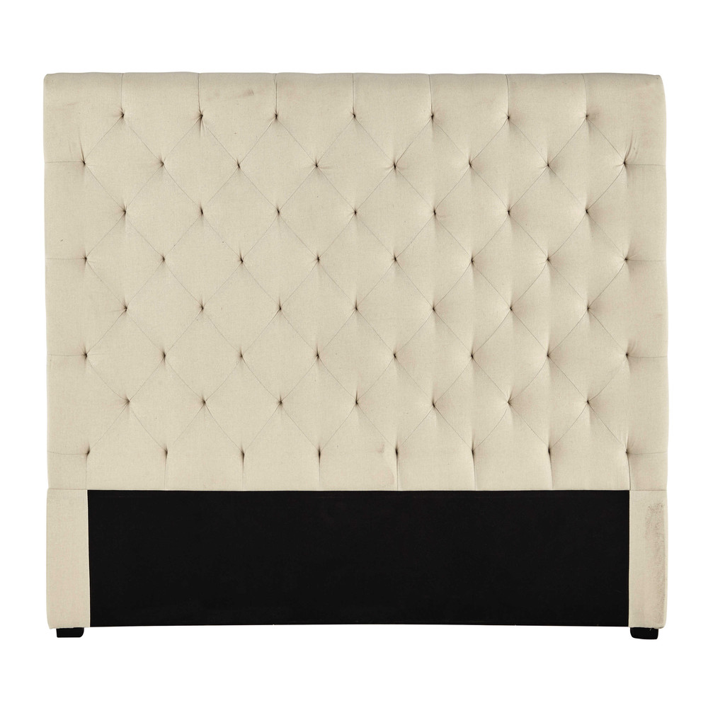 t te de lit 140 capitonn e en tissu beige iris chesterfield maisons du monde. Black Bedroom Furniture Sets. Home Design Ideas