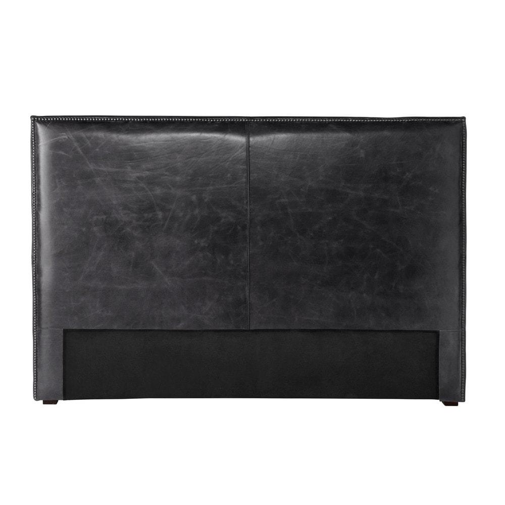 t te de lit 140 cuir vieilli noir andrew maisons du monde. Black Bedroom Furniture Sets. Home Design Ideas