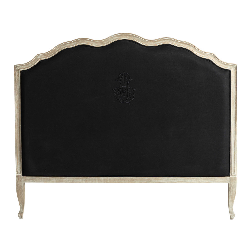t te de lit 140 en lin noir ombelline maisons du monde. Black Bedroom Furniture Sets. Home Design Ideas