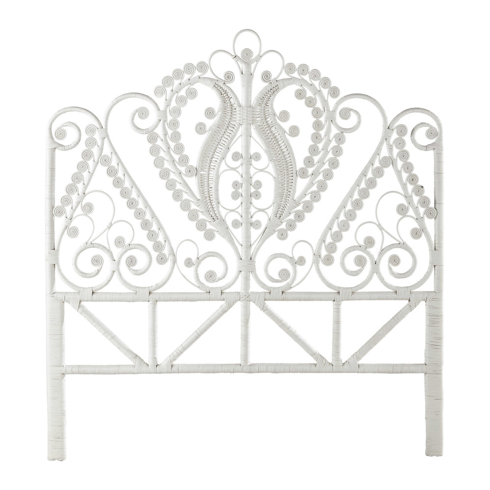 t te de lit 140 en rotin blanche peacock maisons du monde. Black Bedroom Furniture Sets. Home Design Ideas
