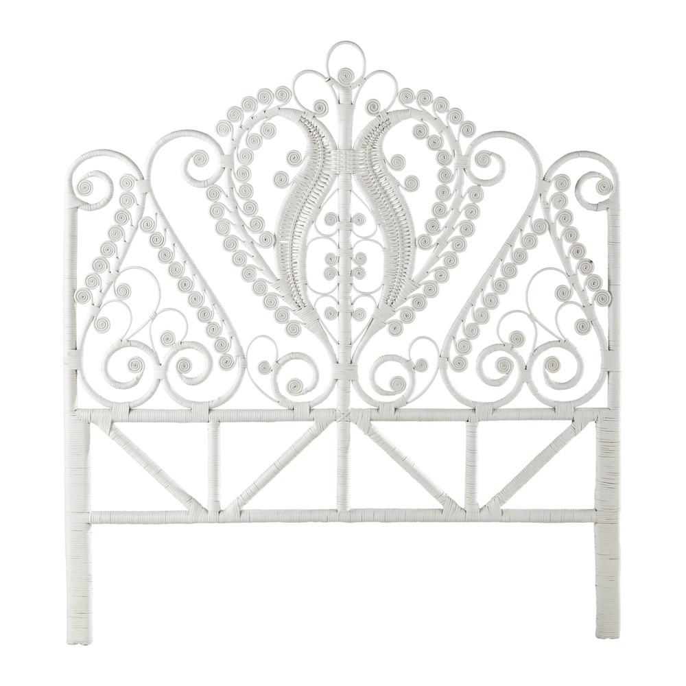 t te de lit 140 en rotin blanche peacock maisons du monde. Black Bedroom Furniture Sets. Home Design Ideas
