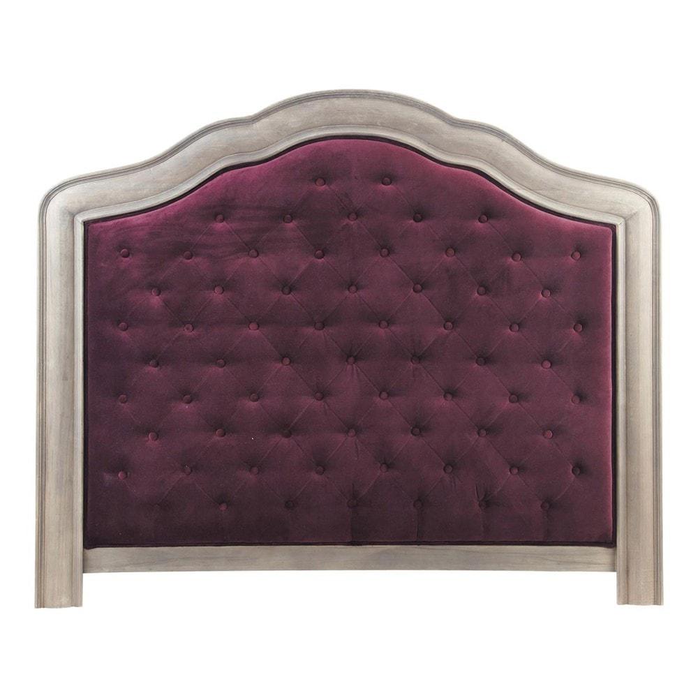 t te de lit 140 velours violet domitille maisons du monde. Black Bedroom Furniture Sets. Home Design Ideas