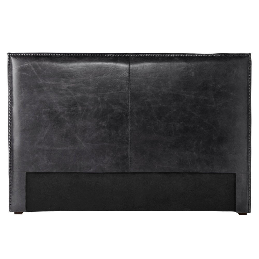 t te de lit 160 en cuir vieilli noir andrew maisons du monde. Black Bedroom Furniture Sets. Home Design Ideas