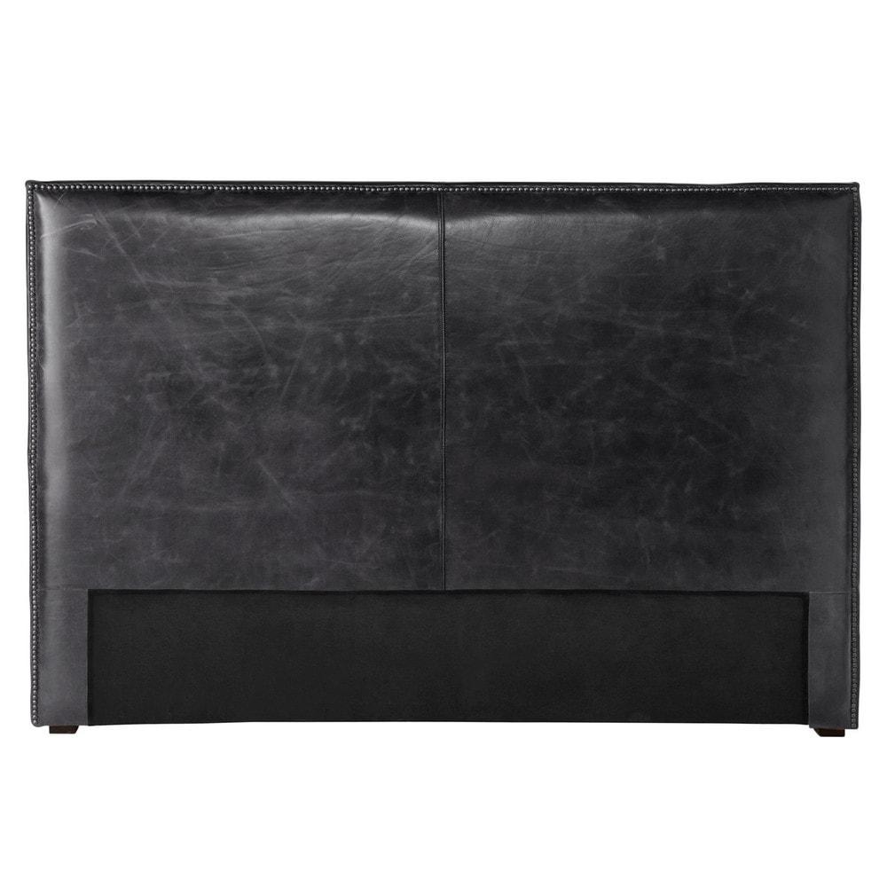 t te de lit 160 en cuir vieilli noir andrew maisons du monde. Black Bedroom Furniture Sets. Home Design Ideas