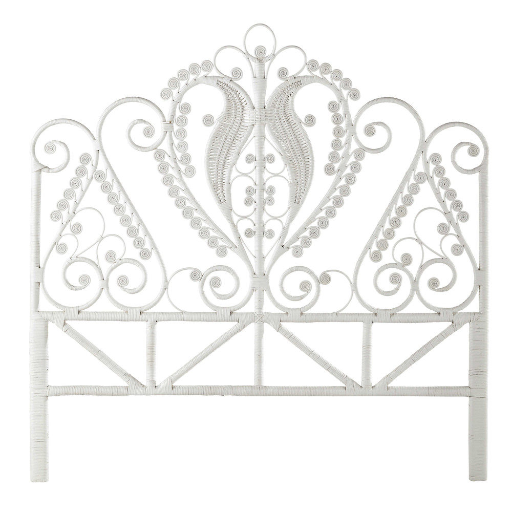 t te de lit 160 en rotin blanche peacock maisons du monde. Black Bedroom Furniture Sets. Home Design Ideas