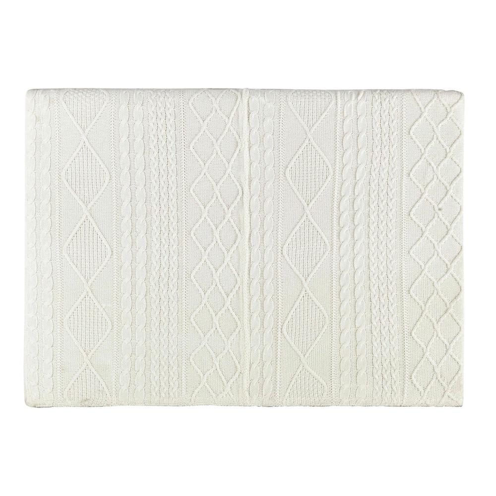 T te de lit 160 en tissu tricot blanc tricot maisons du monde - Tete de lit blanche 160 ...