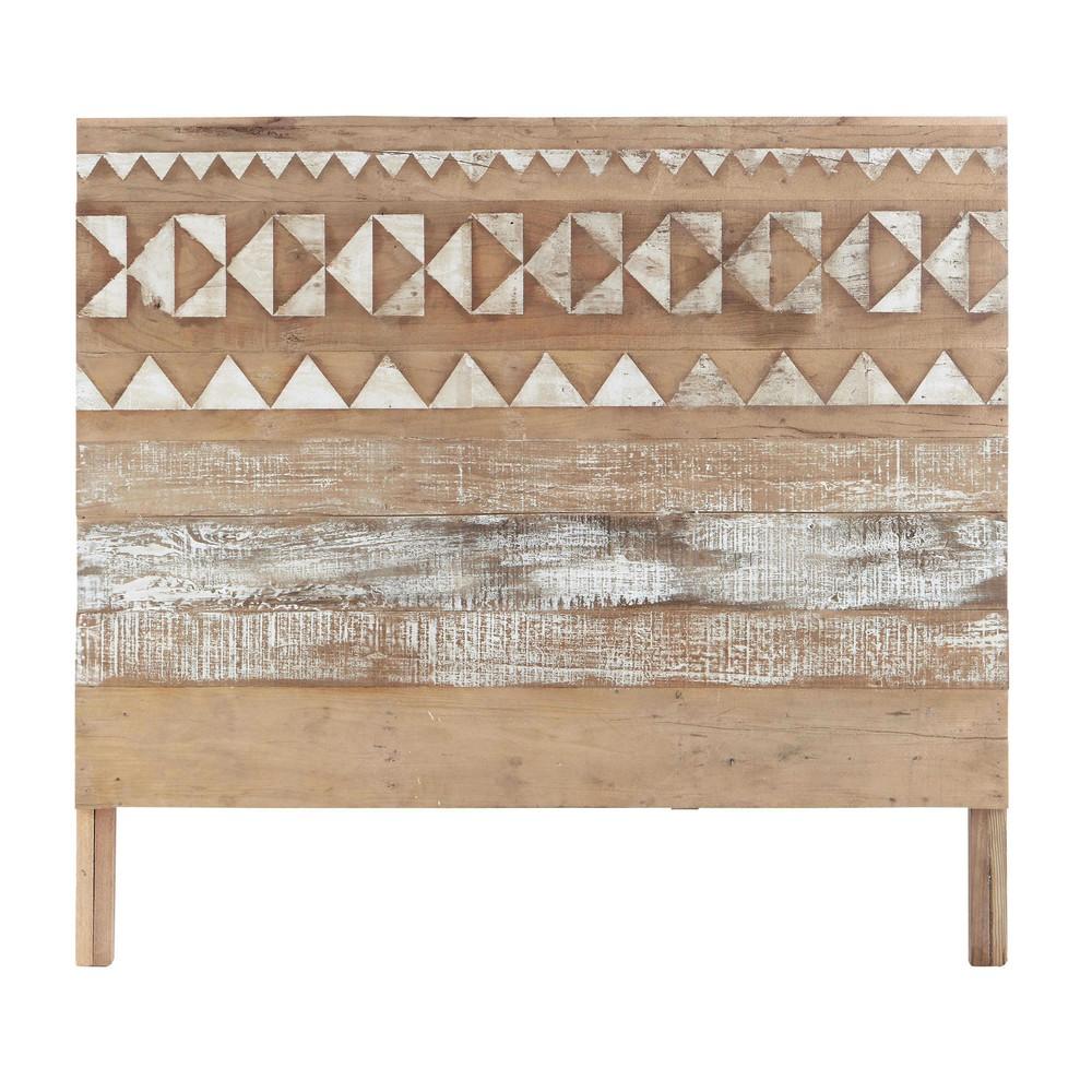 T te de lit motifs en bois recycl l 140 cm tikka maisons du monde - Tete du lit orientation ...