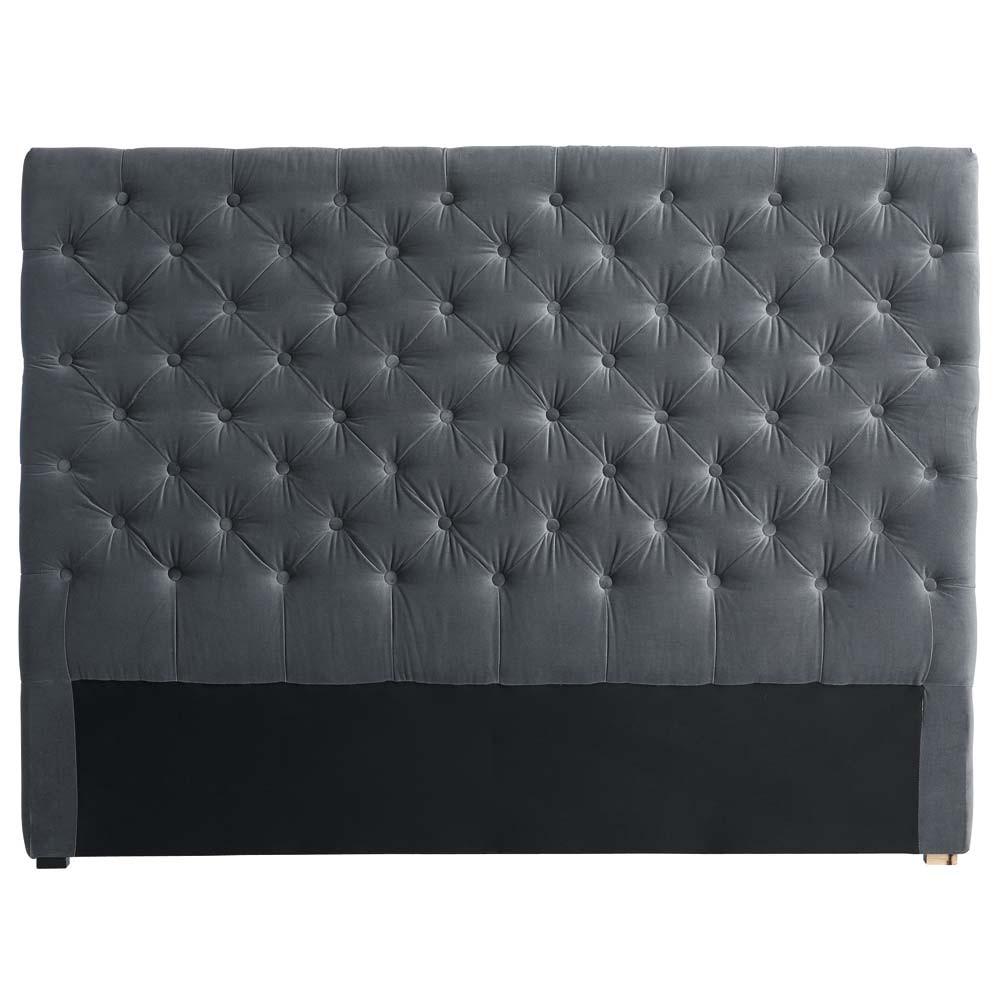 t te de lit capitonn e en velours grise l 140 cm. Black Bedroom Furniture Sets. Home Design Ideas