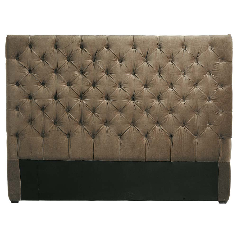 t te de lit capitonn e en velours taupe l 140 cm chesterfield maisons du monde. Black Bedroom Furniture Sets. Home Design Ideas