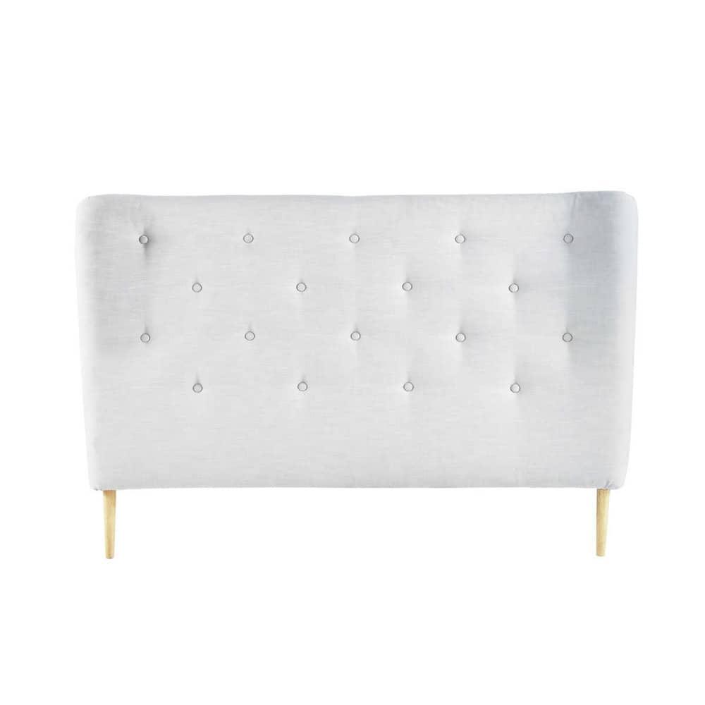 T te de lit capitonn e vintage en tissu grise l 160 cm - Tete de lit garcon ...