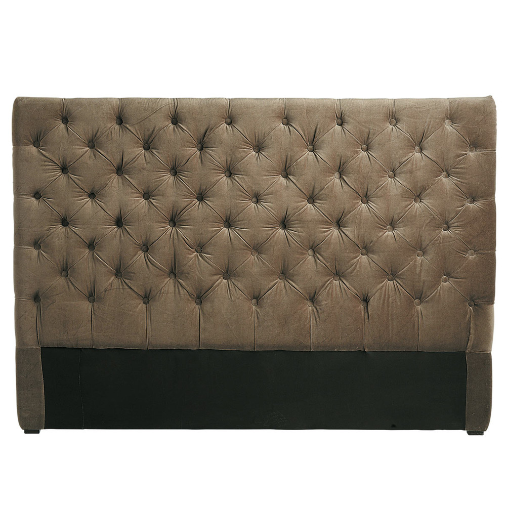 t te de lit capitonn e vintage en velours taupe l 160 cm chesterfield maisons du monde. Black Bedroom Furniture Sets. Home Design Ideas