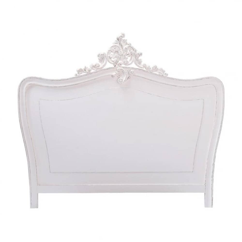 T te de lit en bois blanche l 160 cm comtesse maisons du monde - Tete de lit bois exotique ...