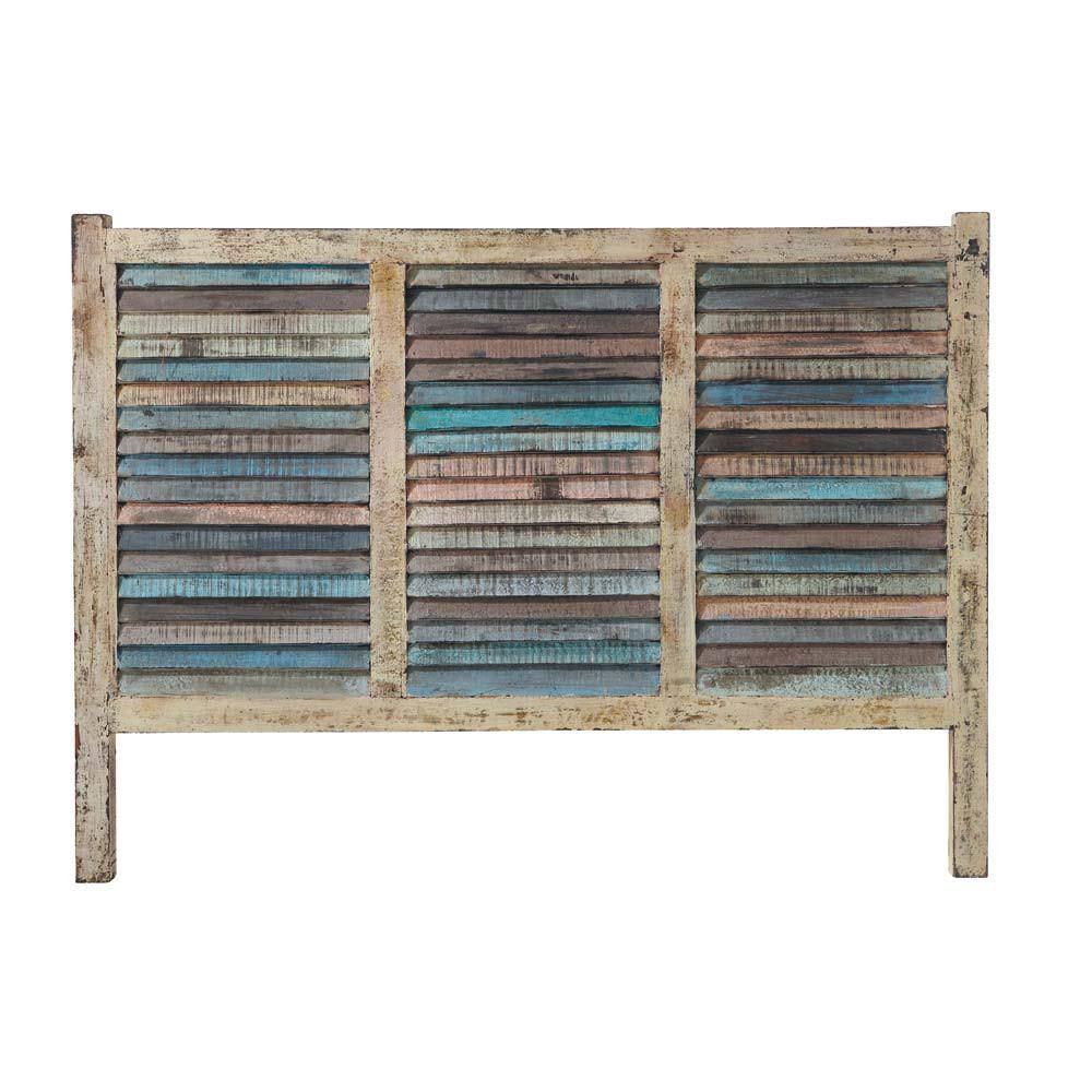 T te de lit en bois recycl l 160 cm calanque maisons du for Tete de lit en bois fait maison