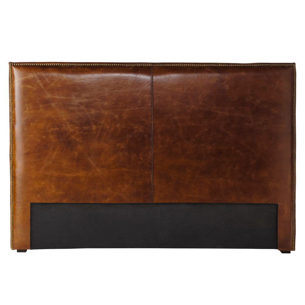 t te de lit en cuir marron effet vieilli l 160 cm andrew. Black Bedroom Furniture Sets. Home Design Ideas