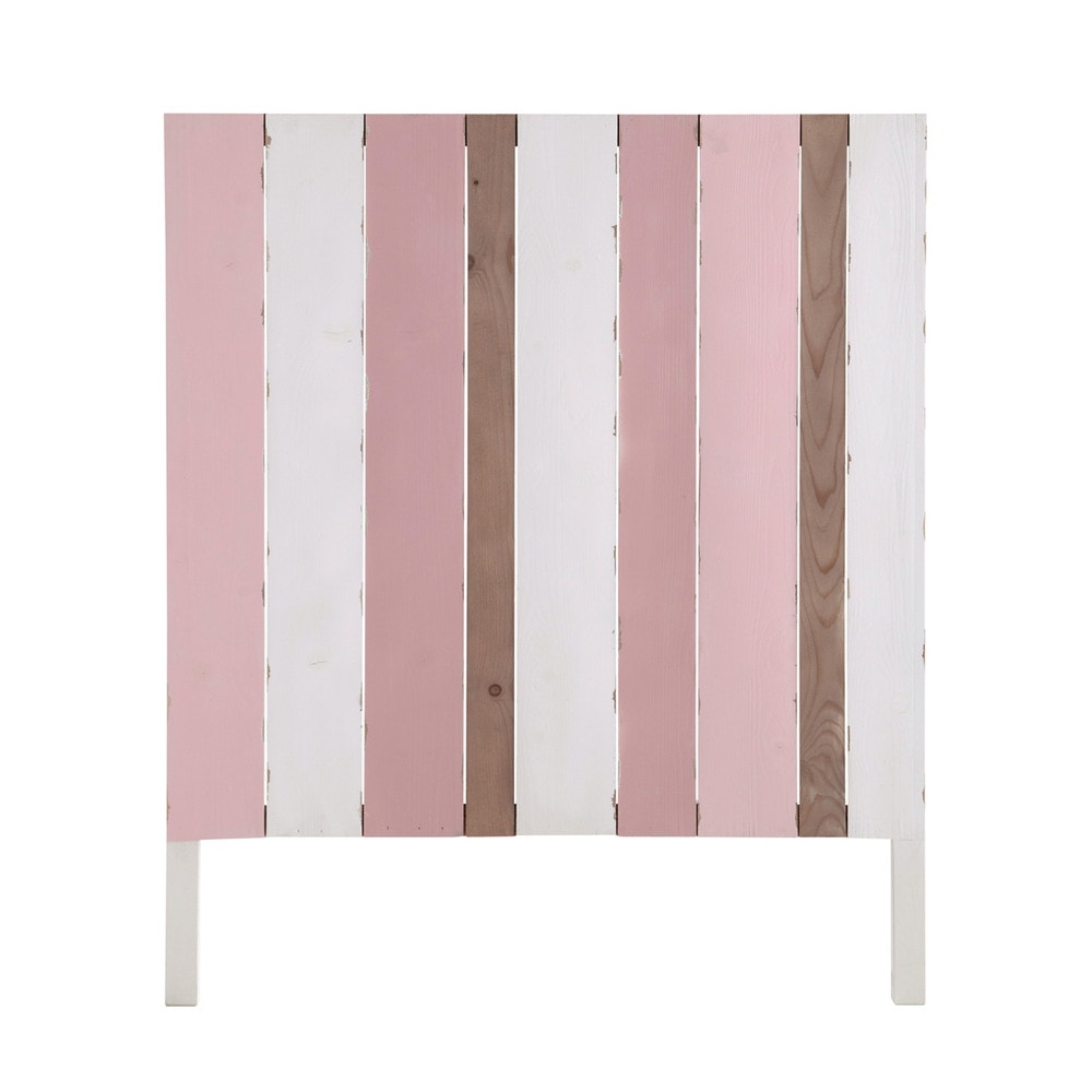 t te de lit enfant en bois rose et blanche l 90 cm violette maisons du monde. Black Bedroom Furniture Sets. Home Design Ideas