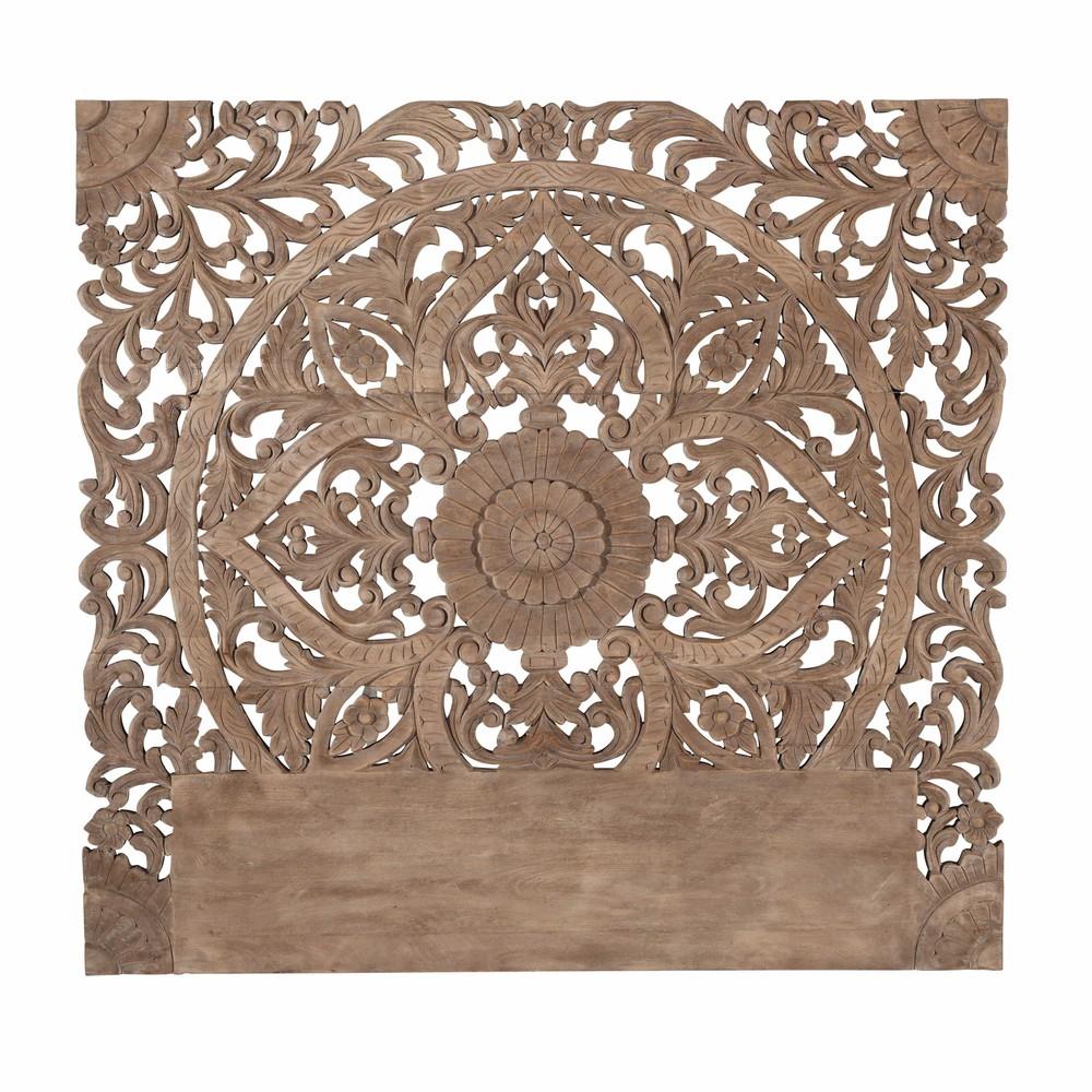 T te de lit sculpt e en manguier massif l 160 cm himalaya maisons du monde - Tete de lit bois exotique ...
