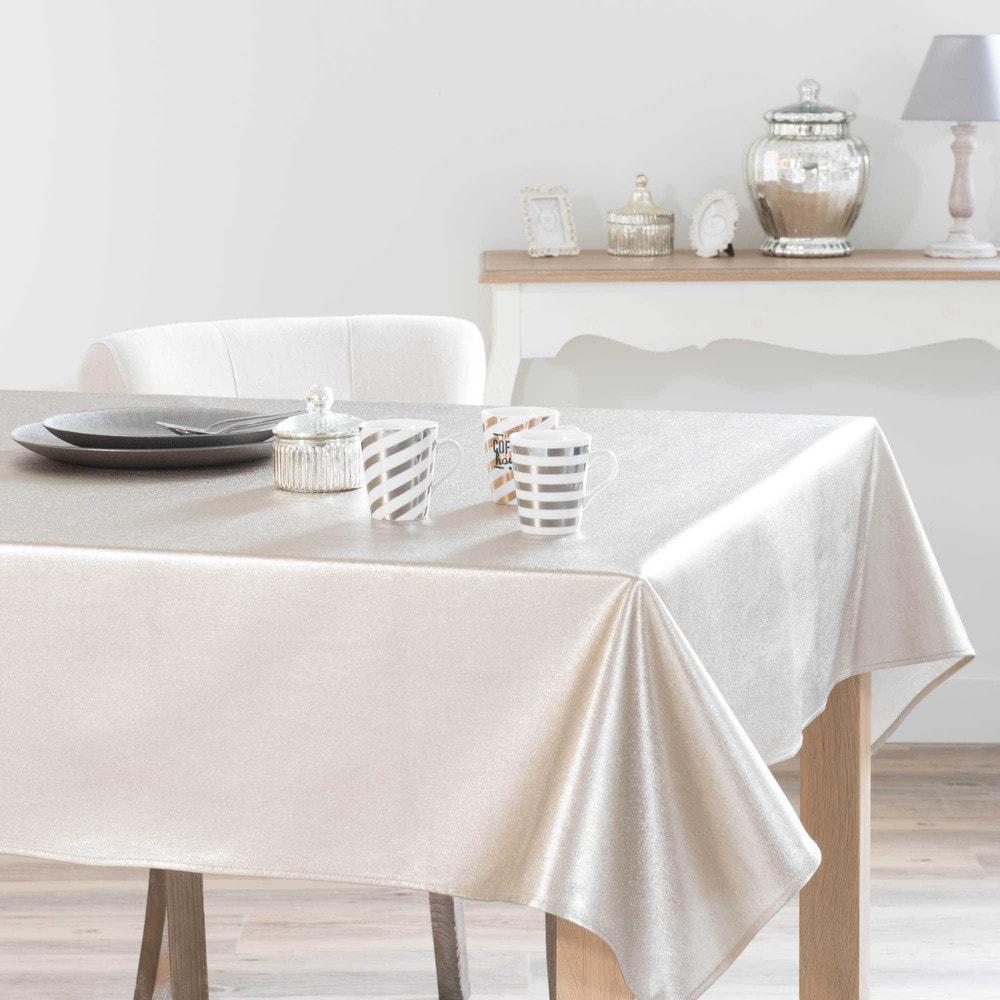 tischdecke aus baumwolle beschichtet golden 140 x 250 cm champaign maisons du monde. Black Bedroom Furniture Sets. Home Design Ideas