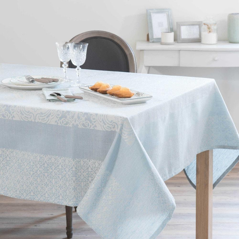 tischdecke aus baumwolle und leinen blau 170 x 250 cm lisbonne maisons du monde. Black Bedroom Furniture Sets. Home Design Ideas