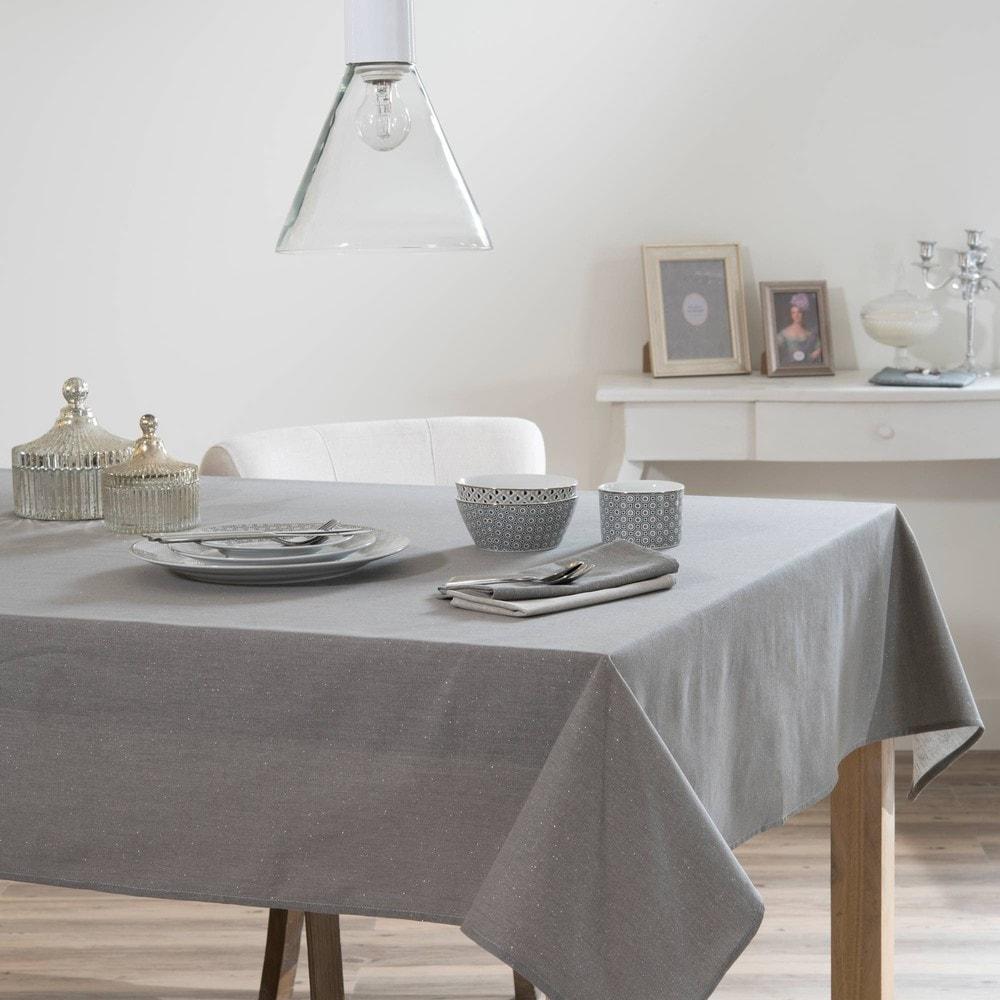 tischdecke tincelle aus stoff 140 x 250 cm anthrazitgrau maisons du monde. Black Bedroom Furniture Sets. Home Design Ideas