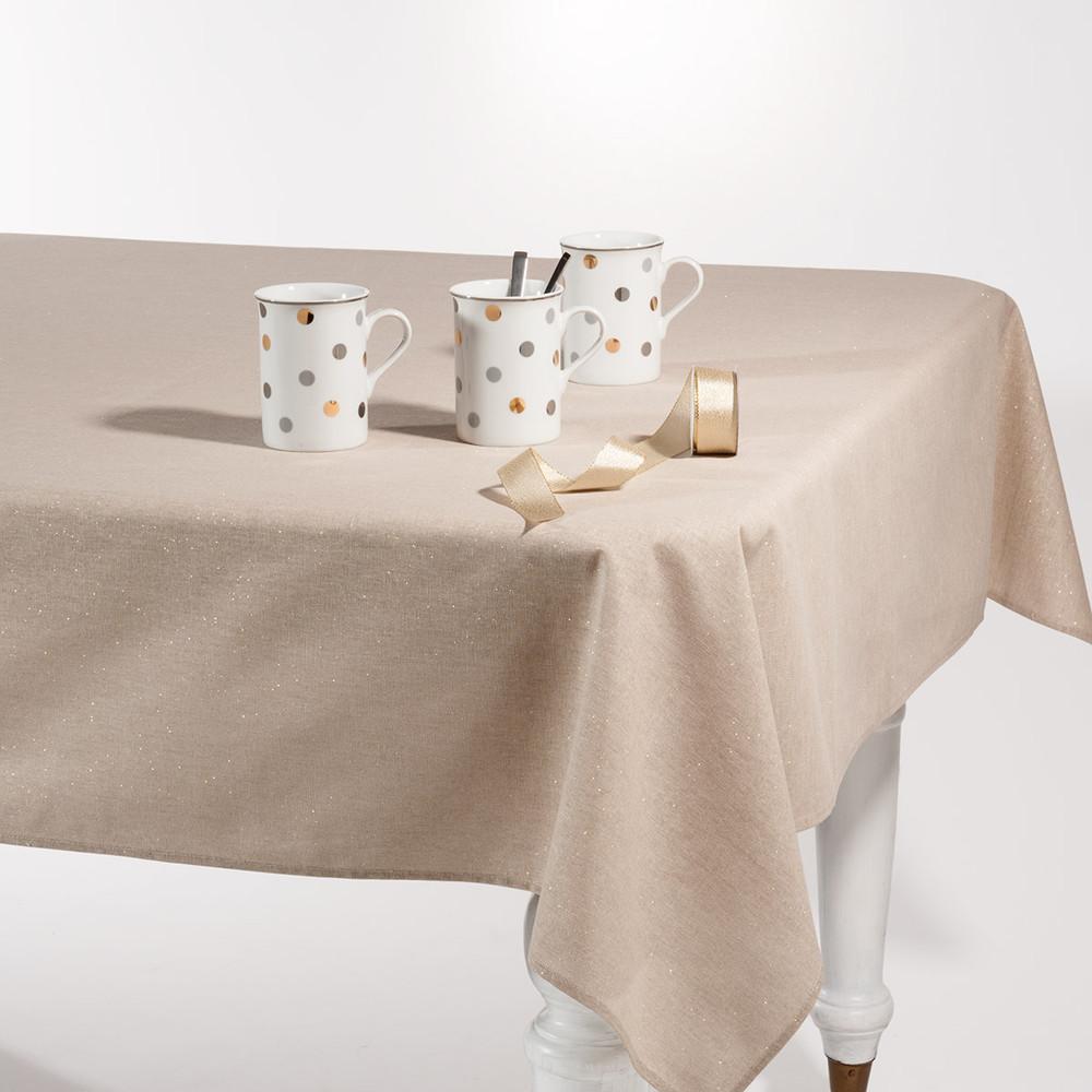 tischdecke mit pailletten beige 140 x 250cm tincelle maisons du monde. Black Bedroom Furniture Sets. Home Design Ideas