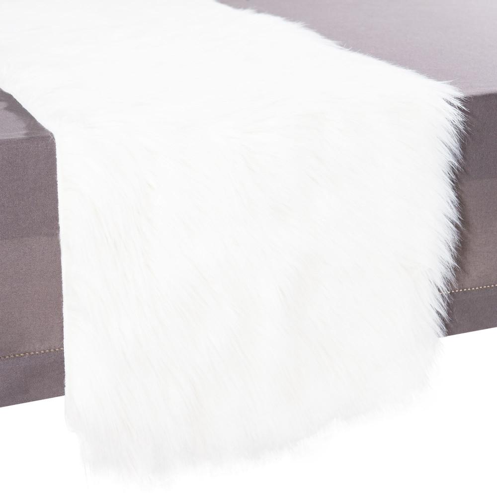tischl ufer eskimo aus kunstfell l 160 cm wei maisons du monde. Black Bedroom Furniture Sets. Home Design Ideas