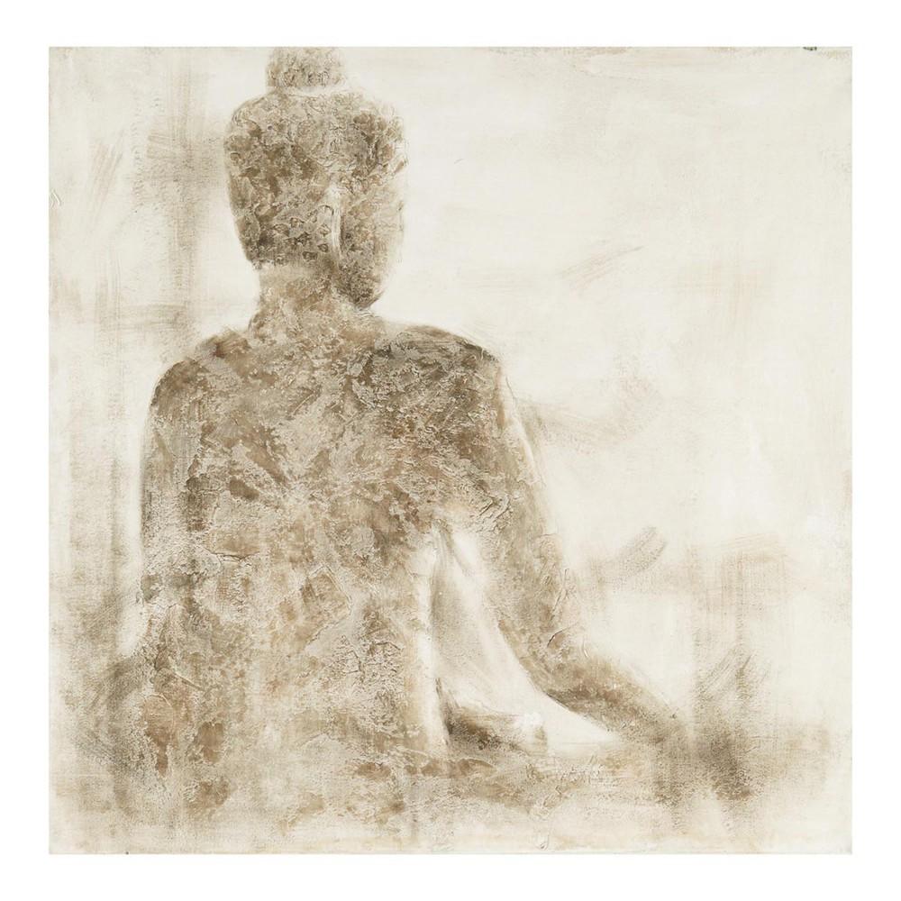 toile bouddha peinte main 100 x 100 cm ombre maisons du monde. Black Bedroom Furniture Sets. Home Design Ideas