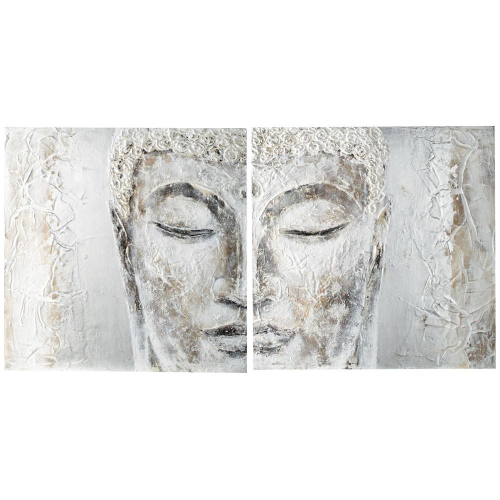 toile diptyque peinte main argent e 97 x 194 cm silver bouddha maisons du monde. Black Bedroom Furniture Sets. Home Design Ideas