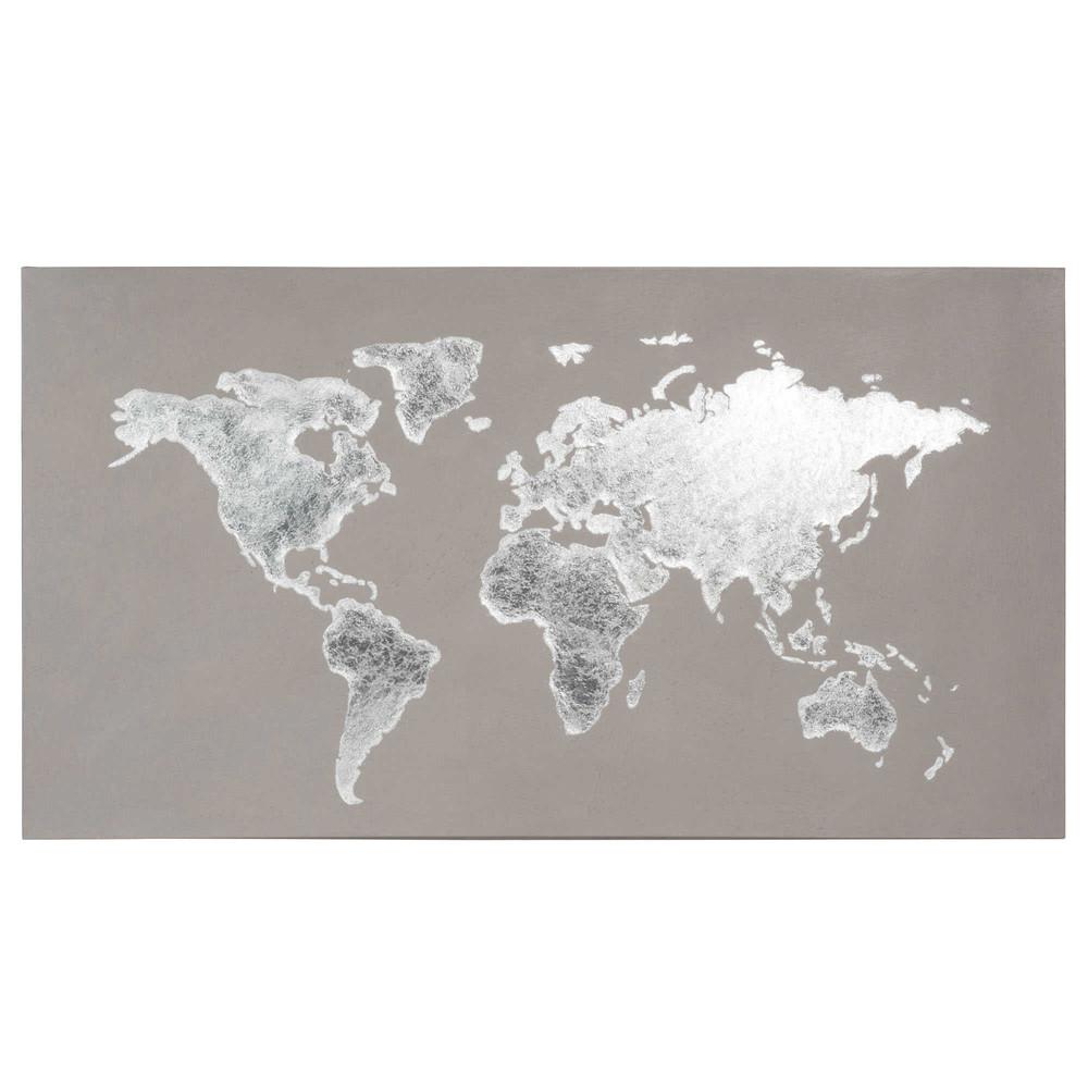 Toile mappemonde grise 110x60 silver maisons du monde - Toile maison du monde ...