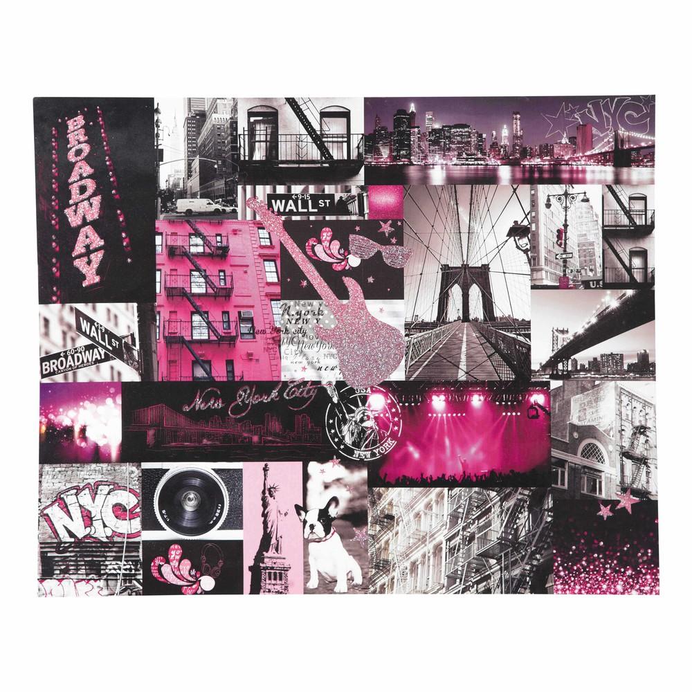 toile patchwork rose 60 x 75 cm nyc pink maisons du monde. Black Bedroom Furniture Sets. Home Design Ideas