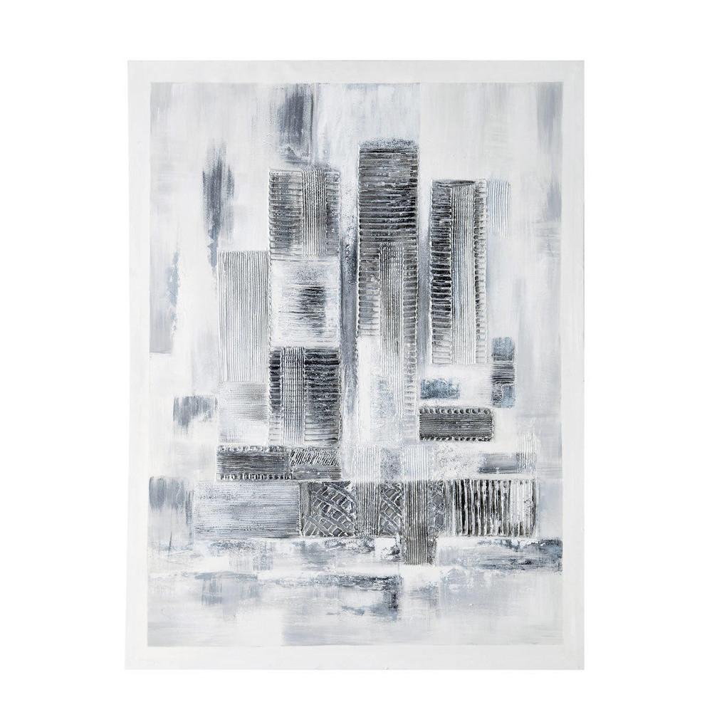 toile peinte la main blanche et argent e 90 x 120 cm. Black Bedroom Furniture Sets. Home Design Ideas