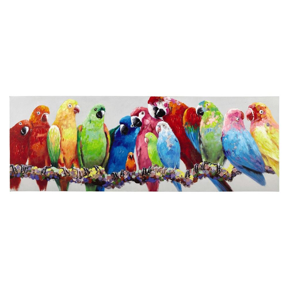 Toile perroquets multicolores 70 x 200 cm luciana for Maison du monde tableaux