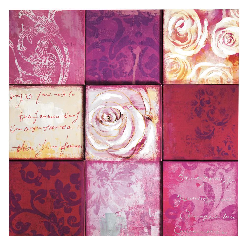 toile pink flower maisons du monde. Black Bedroom Furniture Sets. Home Design Ideas
