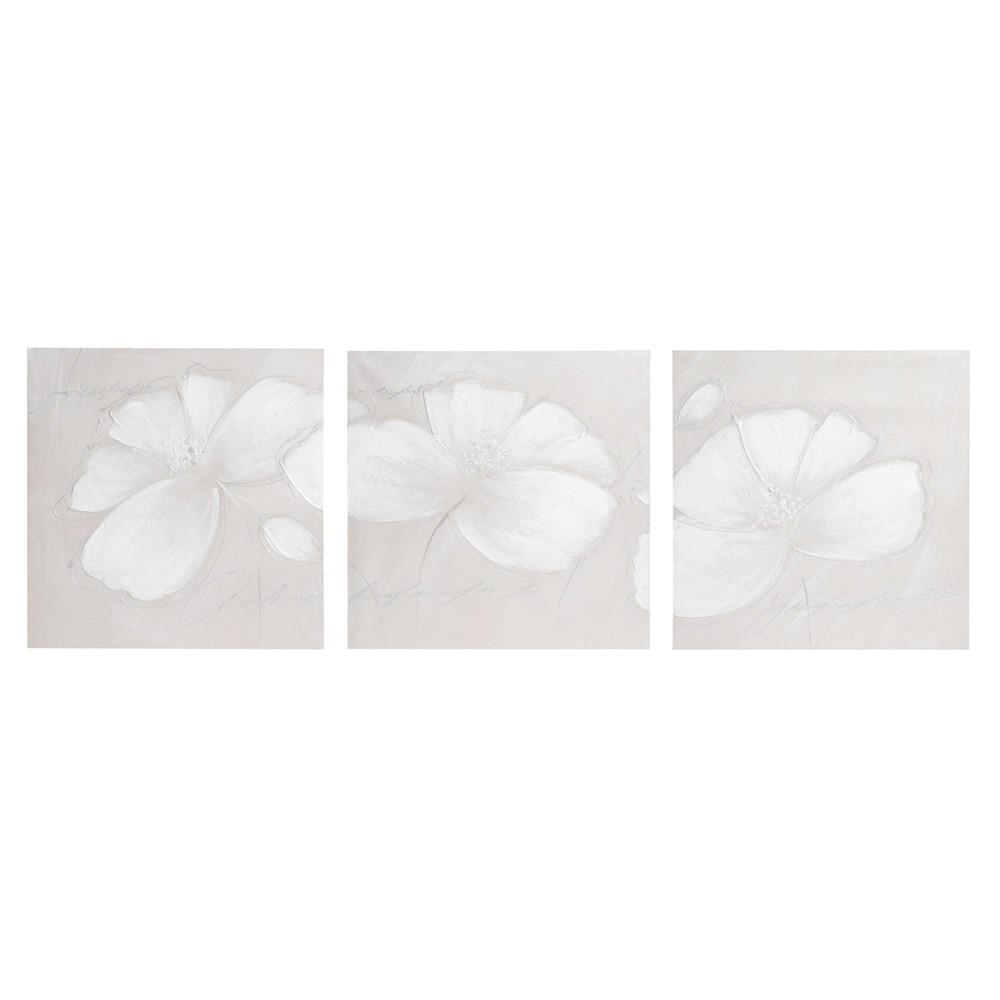toile triptyque fleurs 50 x 150 cm annabelle maisons du monde. Black Bedroom Furniture Sets. Home Design Ideas