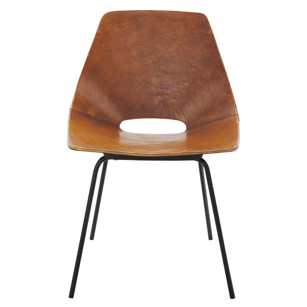 Tonneau Stuhl Guariche aus Leder und Metall cognac
