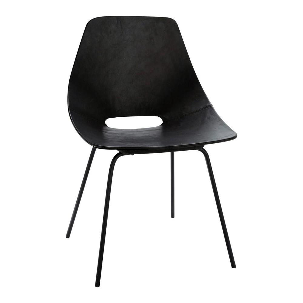 tonneau stuhl guariche aus leder und metall schwarz amsterdam maisons du monde. Black Bedroom Furniture Sets. Home Design Ideas