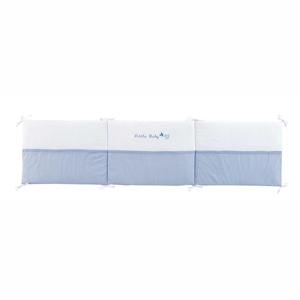 tour de lit b b en coton bleu blanc 45 x 100 cm th ophile maisons du monde. Black Bedroom Furniture Sets. Home Design Ideas