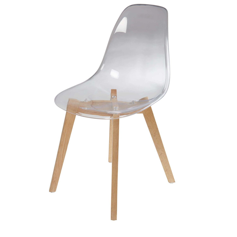 Skandinavischer Stuhl transparenter skandinavischer stuhl mit eiche ice | maisons du monde