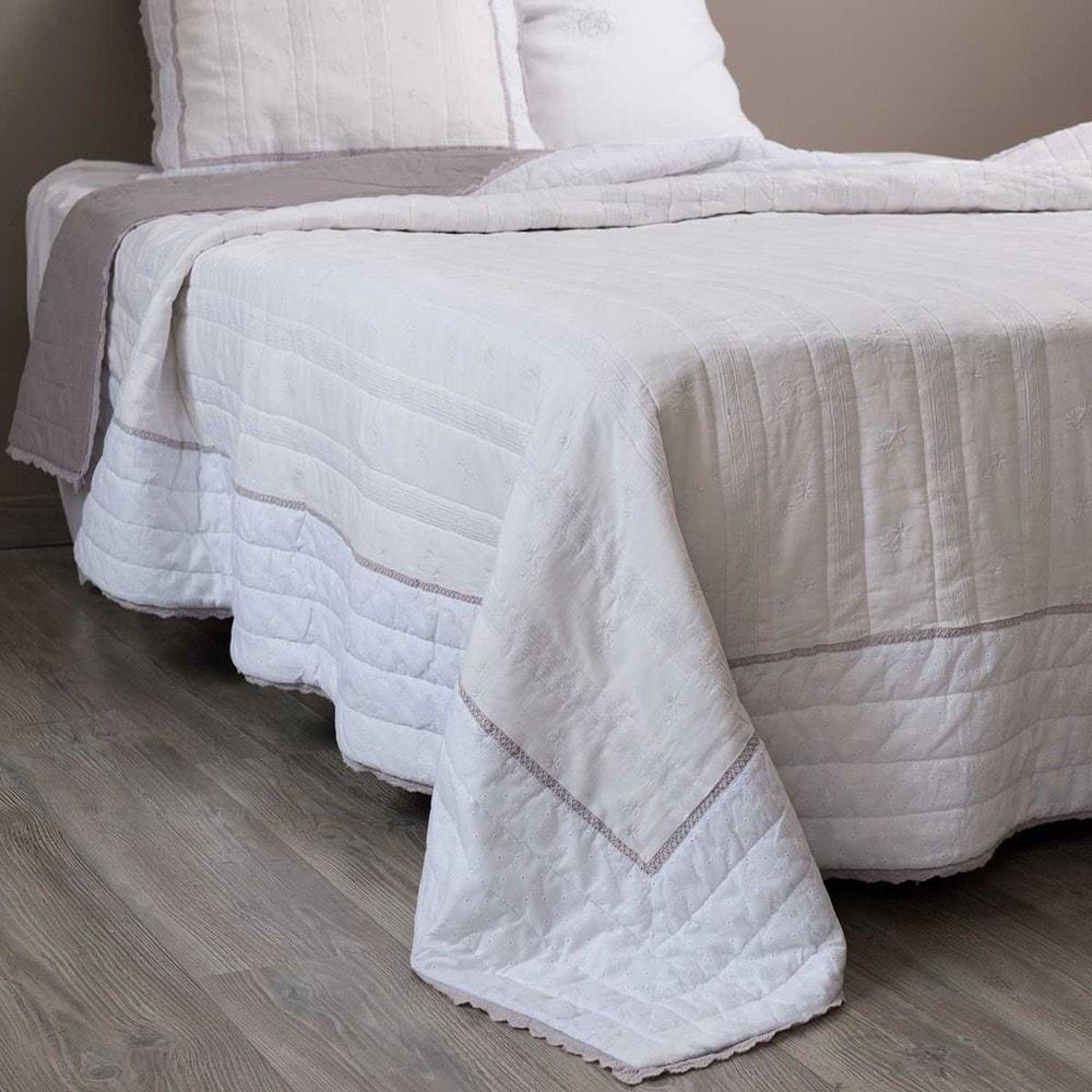 trapunta bianca in lino 240 x 260 cm sorel maisons du monde. Black Bedroom Furniture Sets. Home Design Ideas