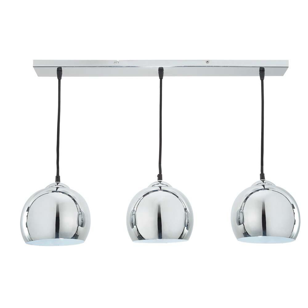 TRIO Brushed Aluminium Triple Pendant Lamp D 70cm
