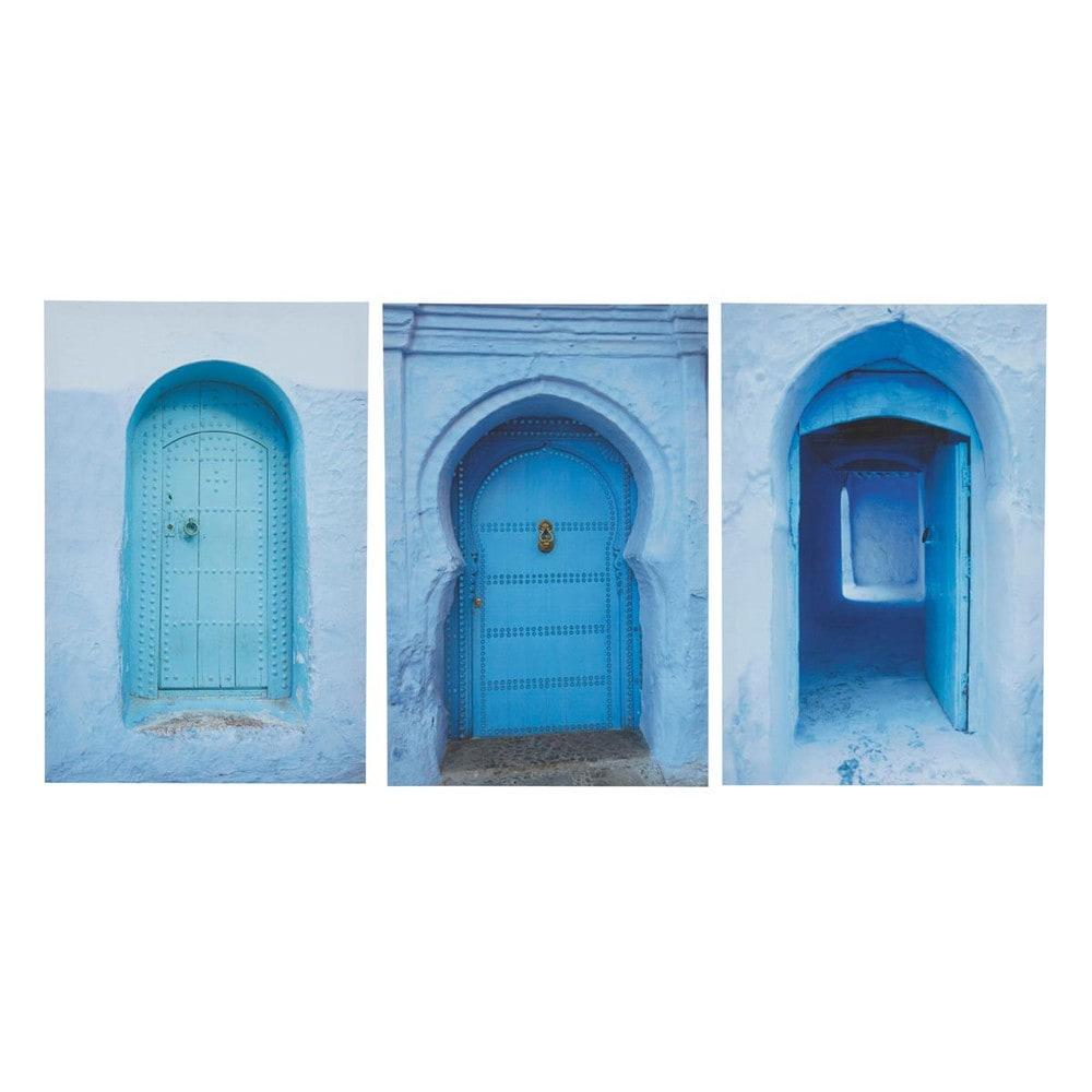 Triptyque bleue 40 x 60 cm m dina maisons du monde for Maison du monde tableaux