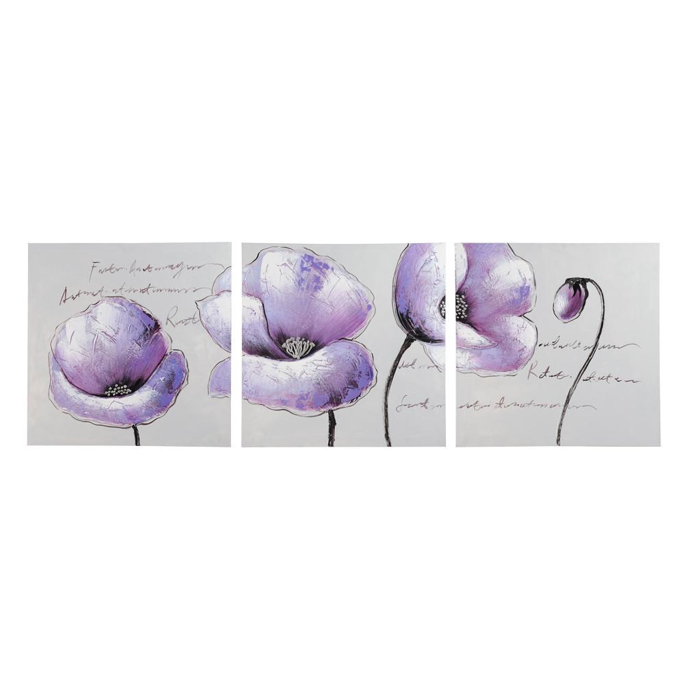 Triptyque fleurs violette 50 x 150 cm purple maisons du - Triptyque maison du monde ...
