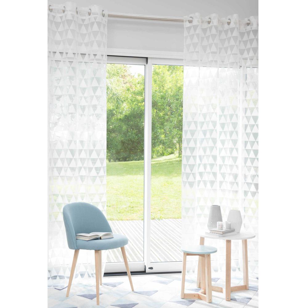 trix eyelet curtain with white triangle motifs 140 x 250 cm maisons du monde. Black Bedroom Furniture Sets. Home Design Ideas