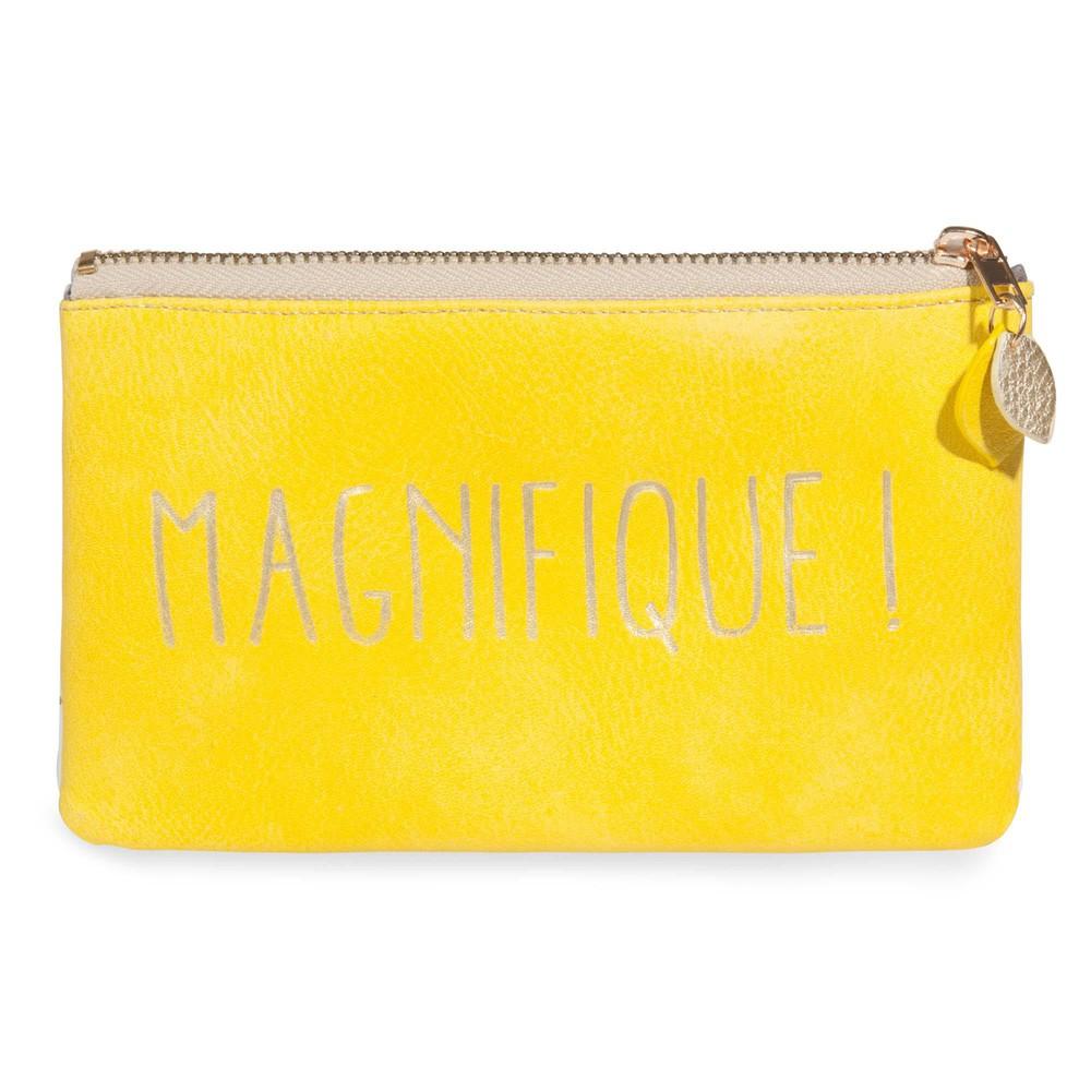 Trousse jaune motifs citrons magnifique maisons du monde for Accessoire deco jaune